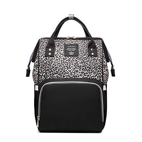 HUATINGRHBA Wickeltasche Rucksack, mit Wickelauflage Wickeltasche Rucksack, mit Wickelauflage für Mama und Papa Große Kapazität, stilvoll und langlebig, Leopard Grain Brown -