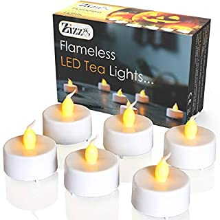 Zizz 24-7 Flameless LED Tea Lights with Realistic Amber Flickering Light – Premium Quality Battery Candles for Halloween, Christmas, Weddings, Party Decorations Indoor & Outdoor