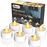 Flammenlose Teelichter LED Set 6er Pack, flackernd mit Batterie, warmweiß, weiße Kerzen mit Flamme in Gelb – Perfekt für Valentinstag, Halloween, Weihnachten, Geburtstage, romantische Dekoration