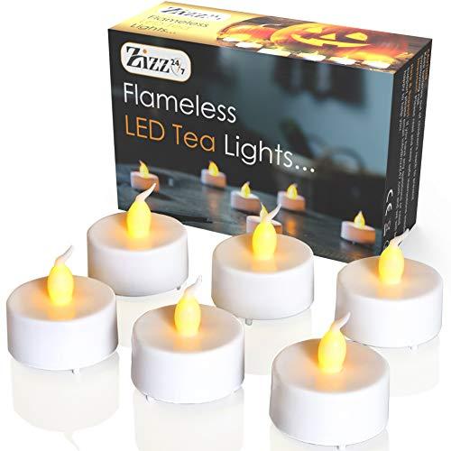 Lumini led senza fiamma tea light - candele bianche a batteria con tremolio realistico di fiamma ambrata - perfette per san valentino, halloween, natale, compleanni, anniversario