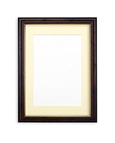 Elegant Picture frame photo frame poster reverese profile frame with Mount- With a High Clarity Styrene Shatterproof Perspex Sheet - Smooth Walnut Frame with Ivory Mount- 8