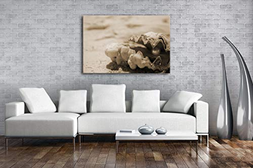 deyoli gestrandete Perlenmuschel Effekt: Sepia als Leinwand, Motiv fertig gerahmt auf Echtholzrahmen, Hochwertiger Digitaldruck mit Rahmen, Kein Poster oder Plakat