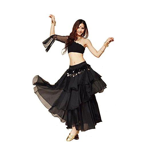 bellyqueen 3Sommer Sexy Indischen Bauchtanz Kostüme Sets Kostüm Indian Dance Single Schulter Röcke, schwarz