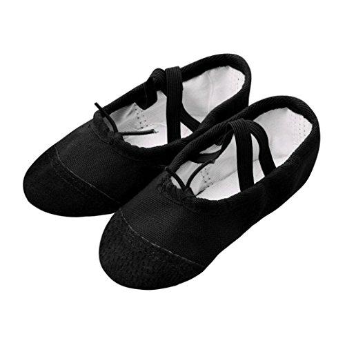 Scarpette da ballerina per bambine e ragazze tela balletto pointe danza scarpe fitness ginnastica pantofole perbambini bambino ragazza mocassini classica scarpe (nero, eu:24)