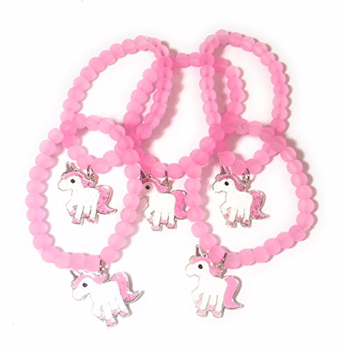 FizzyButton Gifts Set von 5 Gummizug rosa Wulstige Glitzer Einhorn Armbänder für Mädchen Partei Taschen - Mädchen-partei