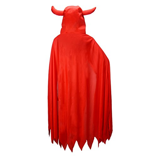 passgenau rot 119,4 cm Devil eckig Kapuzen Umhang cape Vampir Dämon für Halloween (Hood Mantel Riding Red Little)