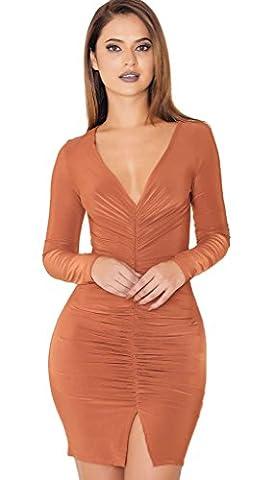 Longwu Herbst-Damen tiefe V-Kragen Spliss Mini Langarm Kleid