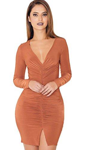 ALAIX donne V profondo collare doppie punte autunno Vestitino a maniche lunghe