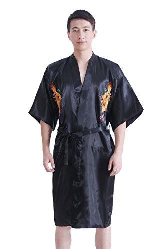 JTC Homme Vêtement de Nuit Peignoirs de Bain Robe de Chambre Dragon Brodé Chinois Avec Ceinture (noir)