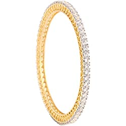 Ratnavali jewels Beautiful CZ Studded Gold Plated Traditional White Bangles Set for Women RV325W (2.4)