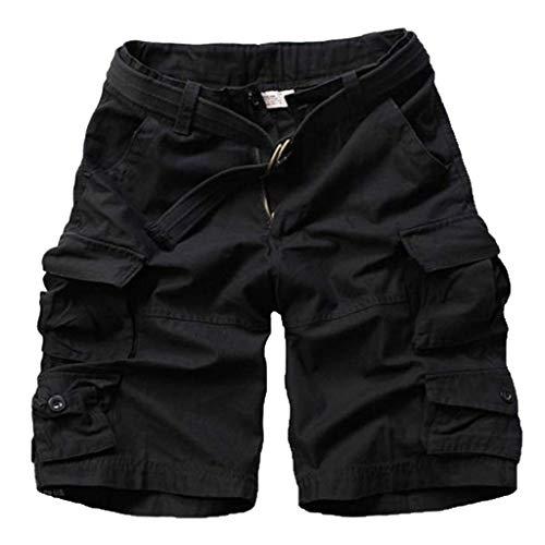 NNVNN Herren Shorts Sport Lose Straight-Typ Shorts Freizeit Bequem Multi-Pocket Strandhose Sporthosen Shorts (Schwarz, M) (High-waisted Silber Pailletten-shorts)