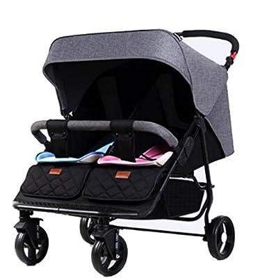 QZX Cochecito Doble Tandem Baby Pram Sistema de Seguridad de 5 Puntos, toldo extendido de 3 Niveles, Asientos reclinables independientemente, Plegado fácil y Ligero, Canasta de Almacenamiento