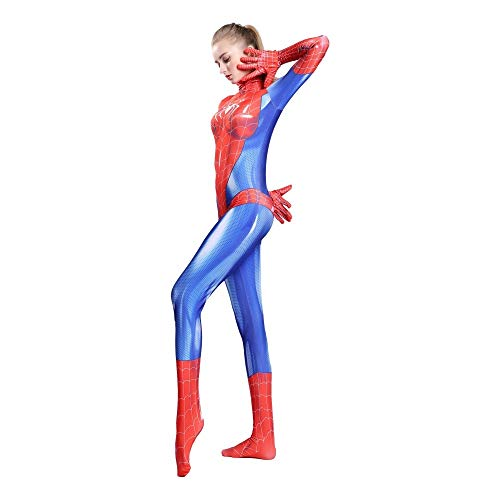 Frauen Spiderman Kostüm Halloween Cosplay Bodysuit Spiderman Dress Party Requisiten Erwachsenes Kind Spiderman Kostüm,Adult-L (Adult Kostüm Party)