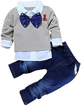 Bekleidung Longra 2016 jungen Mädchen Kinder Kleidung Baby solid Langarm T-shirt Top +Jeanshosen Set Freizeit...