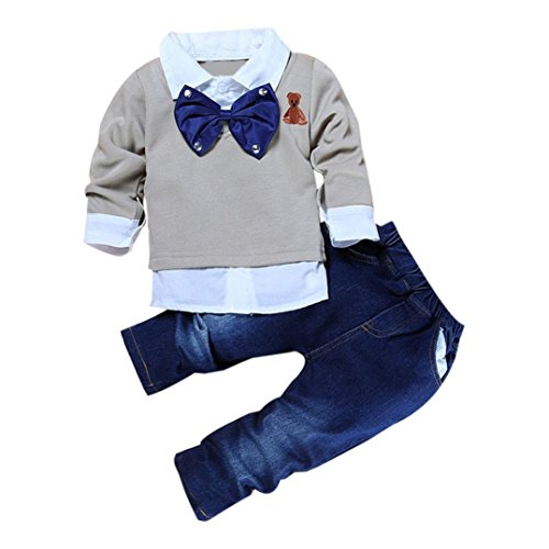 Bekleidung Longra 2016 jungen Mädchen Kinder Kleidung Baby solid Langarm T-shirt Top +Jeanshosen Set Freizeit junge Mädchen Outfits (90CM)