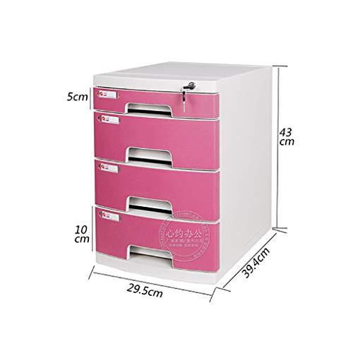 Cassettiera armadi per documenti scatola di immagazzinaggio mobili per ufficio armadietto archivio desktop a 4 piani con serratura tipo di cassetto capacità elevata file a4 (colore : pink)