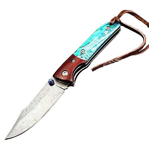 Tiadi Premium Outdoor Taschenmesser Klettern Survival Messer Damastmesser Stahl Klinge Klappmesser Klein holzgriff Überlebensmesser Mit Leder Scheide Tools -
