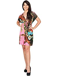 KOH KOH® Damen Minikleid Kurze Ärmeln Kimono V-Ausschnitt Gebuntes Blumenprint