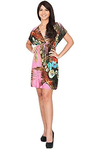 KOH KOH® Plus Size Damen Minikleid Kurze Ärmeln Kimono V-Ausschnitt Gebuntes Blumenprint, Farbe Pink, Größe XL / Extra Large (1920 Bride Kostüm)