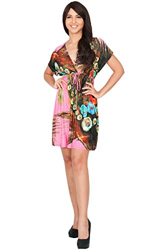 KOH KOH® Plus Size Damen Minikleid Kurze Ärmeln Kimono V-Ausschnitt Gebuntes Blumenprint, Farbe Pink, Größe XL / Extra Large - Size Halloween-kostüme 4x Plus