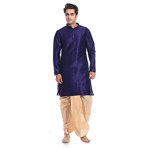 2. Larwa Men's Dupion Silk Kurta Dhoti Set
