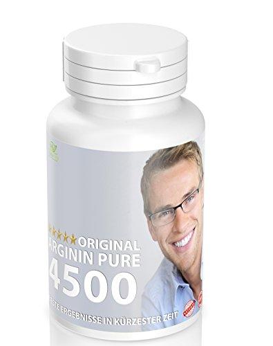 Arginin Pulver Tabletten Vegan: 180 Tabletten Arginine Pure 4500 - Booster - Testosteron - Potenzmittel - Muskelaufbau - Vegan
