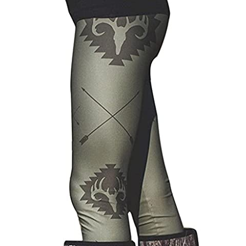 Tongshi Moda mujer flaco impresas Leggings pantalones elásticos (ejercito verde, M)