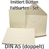 DIN A5/C5plegable de tarjetas y sobres con Onda Interfaz//hochdoppelt//Color Blanco Mate//Marca de calidad: Gustav neuser//Cantidad de descuento, color blanco 25 Sets (50 Artikel)