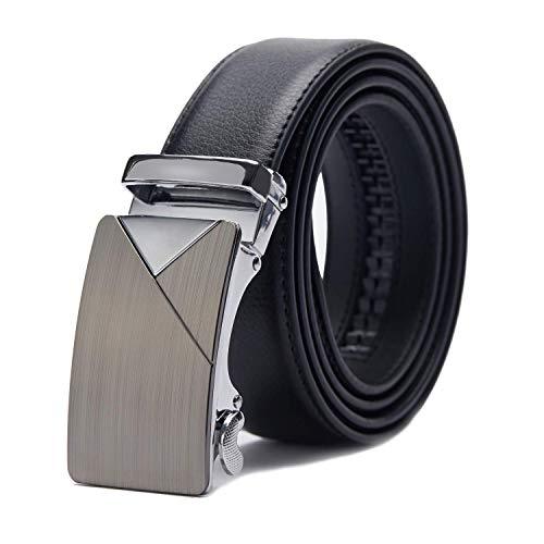 TANGCHAO Gürtel Herren Ledergürtel Ratsche Automatikschließe Business Anzug Gürtel 35mm Breit Schwarz Verbessertes Material 10-HEI-ZD 115CM -