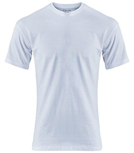 FETCH Herren Basic T-Shirt Rundhalsausschnitt 2er Pack Regular Fit 100% Baumwolle Top Qualität Weiß