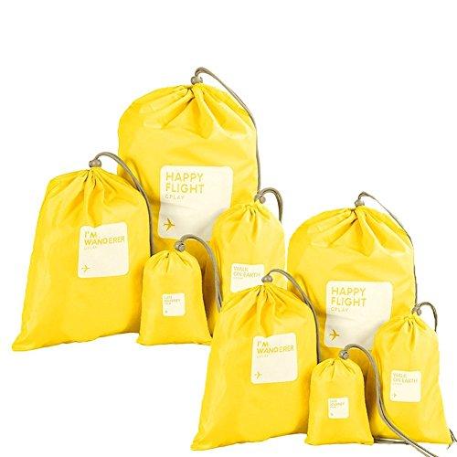 Amoyie 8 teilig Reisetaschen Set Wasserdichte Nylon Organizer Tasche Beutel Organisatoren mit Tunnelzug Aufbewahrungsbeutel Flachbeutel Packtasche für Schlüssel Mobiltelefone Kleidung - 4 verschiedene Größen, Gelb (Tasche 8-teilig)