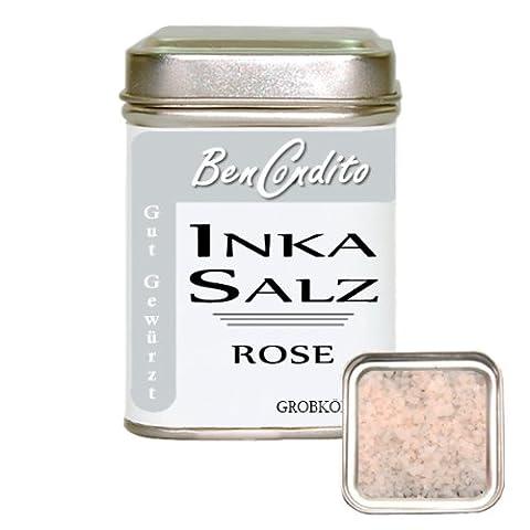 Inka Salz Rose (Sonnensalz ) - rosa Salzflocken aus den Peruanisches Anden | Fa. BenCondito | 160 Gramm in der Gewürzdose