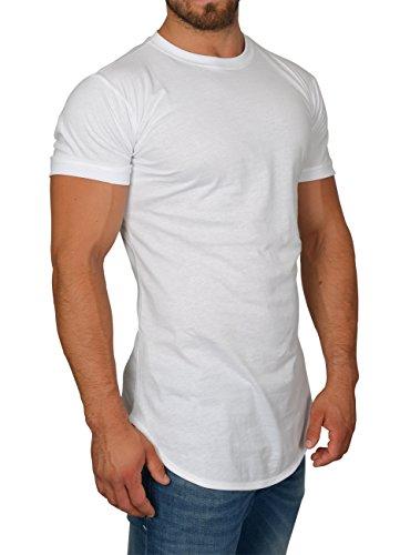 MMC Oversize Shirt Herren - Basic T-Shirt Männer - Kurzarm Longshirt Weiß (M)