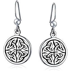 Medallón Escudo Vikingo De Nudos Celtas Gebo Amor Círculo Colgante Pendiente De Plata Esterlina 925 Oxidada