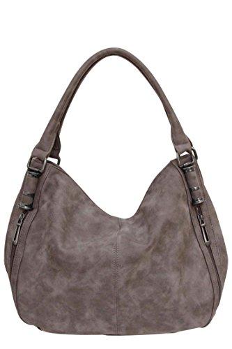 Flora & Co (Farbauswahl) Damen Handtasche PU-Leder Beuteltasche Shopper Umhängetasche Schultertasche Tasche (Flora Handtasche Damen)