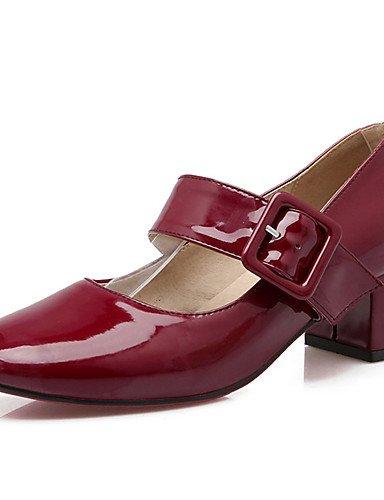 WSS 2016 talon chunky chaussures brevet talons / talons bout rond partie des femmes&soirée / robe / casual noir / rouge / gris red-us9.5-10 / eu41 / uk7.5-8 / cn42