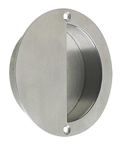Circular Half Moon Face Fix Flush Recessed Sliding Door Pull Handle 90mm Diameter - Satin Stainless Steel