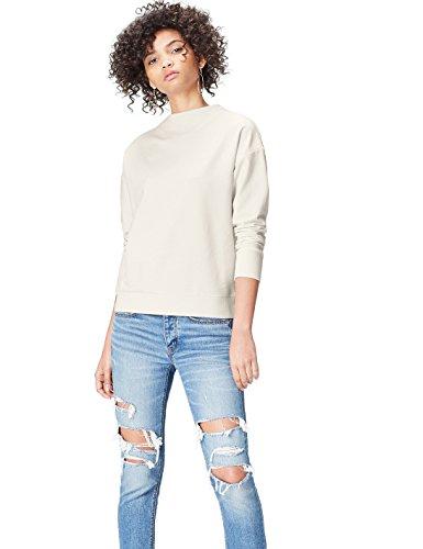 FIND Damen Hochgeschlossenes Sweatshirt mit Feinrippeinsatz Elfenbein (Ivory), 40 (Herstellergröße: Large) (Pullover Elfenbein)