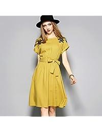 JIALELE La mujer vestido - funda una línea sólida, bordado flor bordada ...
