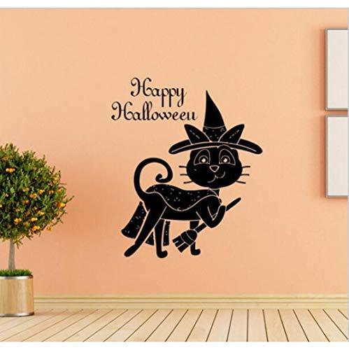 Katze Und Der Hut Zeichen - Magische schwarze Katze Wandaufkleber, Hut Besen