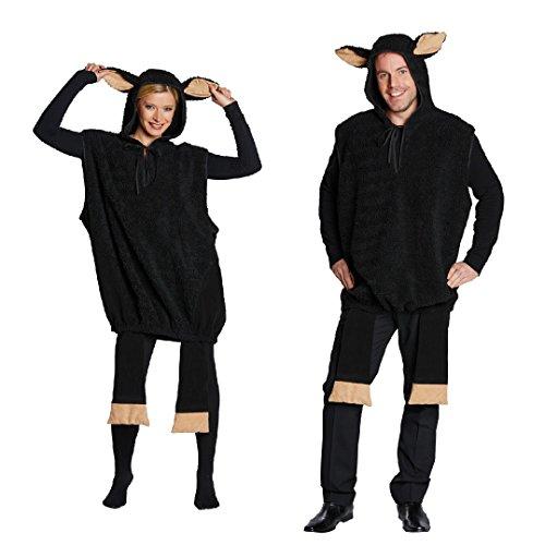 Schwarzes Schaf Unisex Kostüm für Erwachsene (Für Schaf Erwachsene Kostüm)