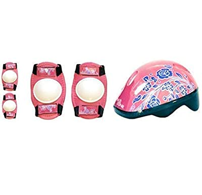 Sk8 Zone Unisex-Youth HW2001355 (GIRLS PINK WHITE), KIDS BIKE SKATE SCOOTER SAFETY HELMET CHILDRENS KNEE ELBOW PAD SET by Sk8 Zone By Eurotrade