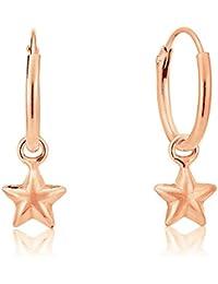 1fe601388fbd DTPSilver - Pendientes de aro de plata de ley 925 chapados en oro rosa con  estrella