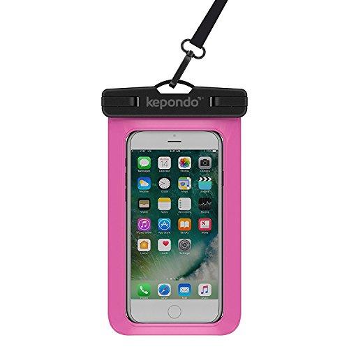 """Kepondo Wasserdichte Handyhülle Tasche Beutel, Schneegeschützt Tauchen, IPX8-zertifiziert (30m Tiefe), für iPhone X, 8, 8 Plus, 7, 7 Plus, Samsung Galaxy S9, S8, jedes Gerät bis zu 6.0"""" (Rosa)"""