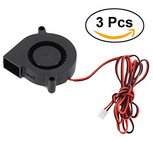 Ueetek 3 pcs 5015 dc 24v 0.18a ventola per stampante 3d, ventola del radiatore del ventilatore della turbina, eccellente per il dissipatore di calore di raffreddamento su hot end, accessorio stampante 3d, nero