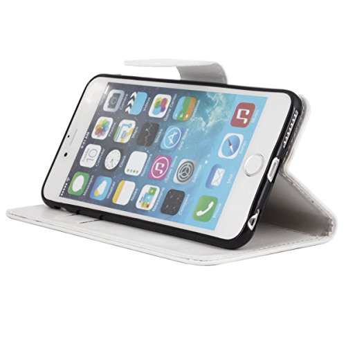 """MOONCASE pour iPhone 6 Plus / 6S Plus (5.5"""") Case Cuir Portefeuille Coque en Housse de Protection Étui à rabat Case Brun Blanc #0308"""