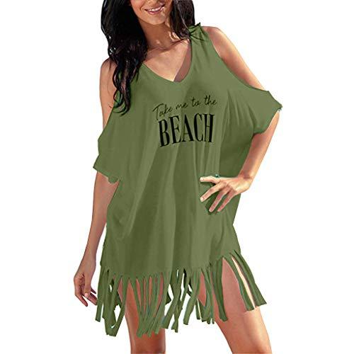TEBAISE Strandkleid Bikini Cover-Ups Damen Sommer Strandponcho Tassel Letters Drucken Strandurlaub Badeanzug Baggy Bademode Freizeitkleider Schwarz 2019 ()