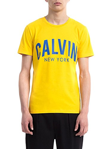 Calvin klein jeans uomo t-shirt tibokoy slim fit, giallo, large