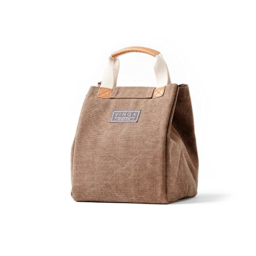 noTrash2003® Sac isotherme Mini Clifton délavé coton couleurs assorties Sac panier pique-nique repas, marron, 24,5 x 19,00 x 19,00 cm