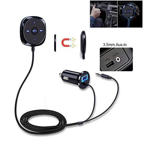 i-Sonite Innovation Auto Bluetooth Freisprecheinrichtung Audio Empfänger Adapter 3,5mm AUX Port Jack Stereo 2.1A USB Ladegerät Port Kompatibel mit LG G4 Beat Lg Car Audio